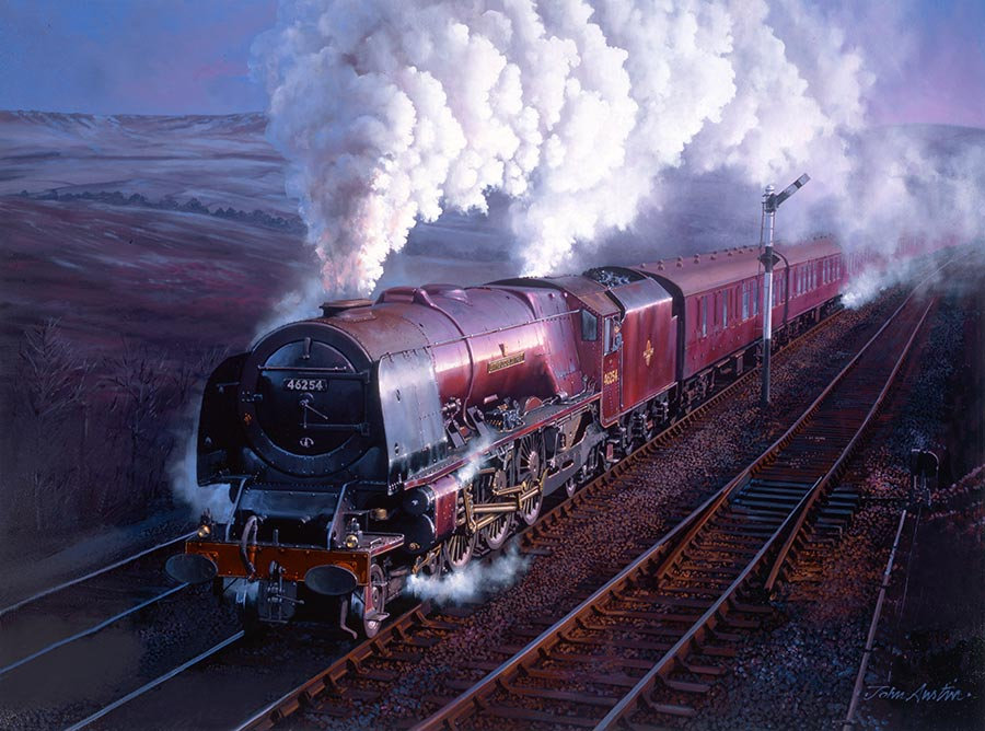 LMS Stanier pacific City of Stoke on Trent nears Beattock summit.