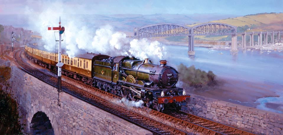 Castle class loco. Painting by John Austin FGRA