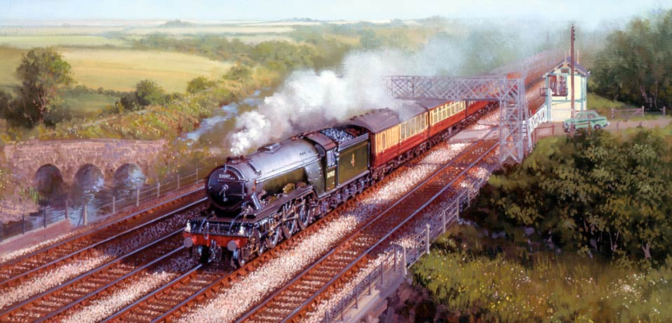 London and North Eastern Railway painting of a Gresley A3.
